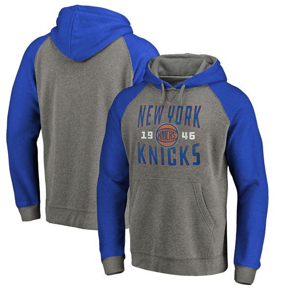New York Knicks Fanatics Branded Ash Antique Stack Tri Blend Raglan Pullover Hoodie