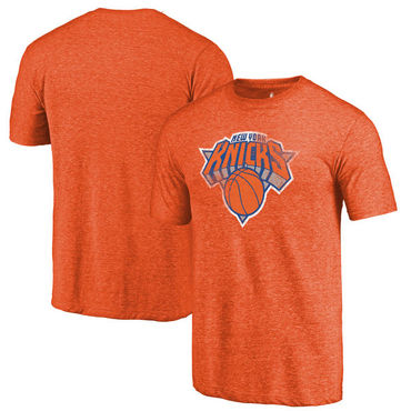 New York Knicks Fanatics Branded Orange Distressed Logo Tri-Blend T-Shirt