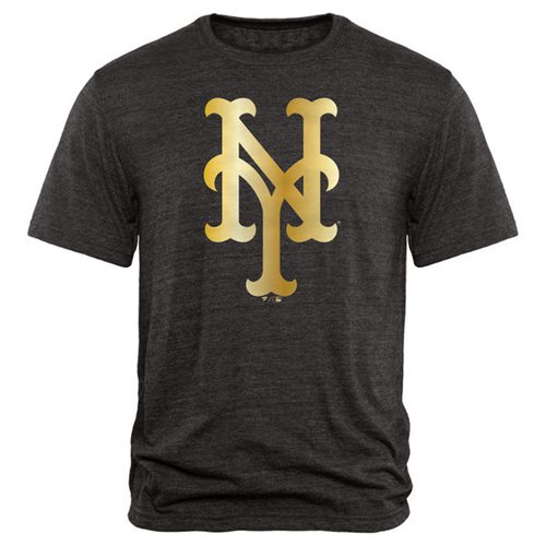 New York Mets Fanatics Apparel Gold Collection Tri-Blend T-Shirt Black