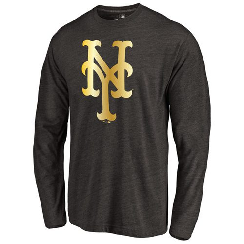 New York Mets Gold Collection Long Sleeve Tri-Blend T-Shirt Black