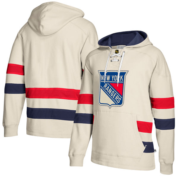 New York Rangers Cream Men's Customized All Stitched Hooded Sweatshirt