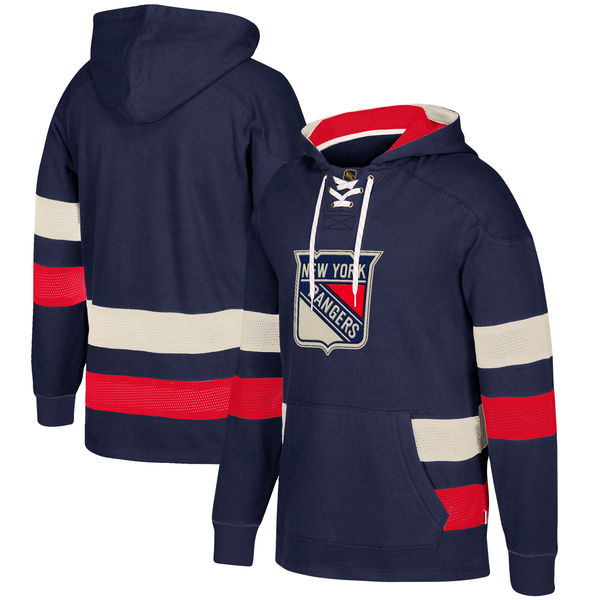New York Rangers Navy Men's Customized All Stitched Hooded Sweatshirt