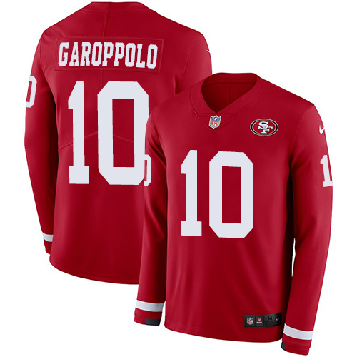 Nike 49ers #10 Jimmy Garoppolo Red Team Color Men's Stitched NFL Limited Therma Long Sleeve jerseyssite.net