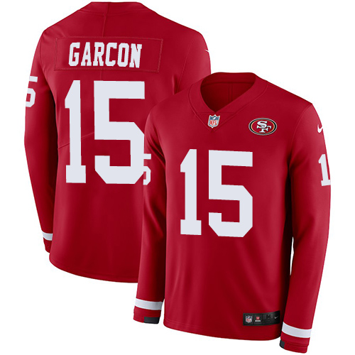 Nike 49ers #15 Pierre Garcon Red Team Color Men's Stitched NFL Limited Therma Long Sleeve Jersey
