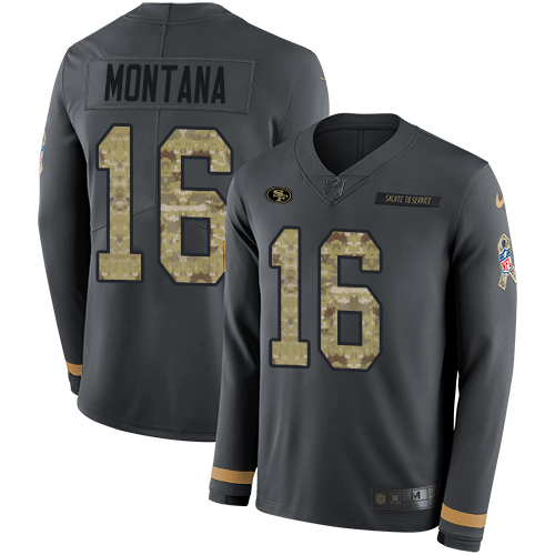 Nike 49ers #16 Joe Montana Anthracite Salute to Service Men's Stitched NFL Limited Therma Long Sleeve Jersey
