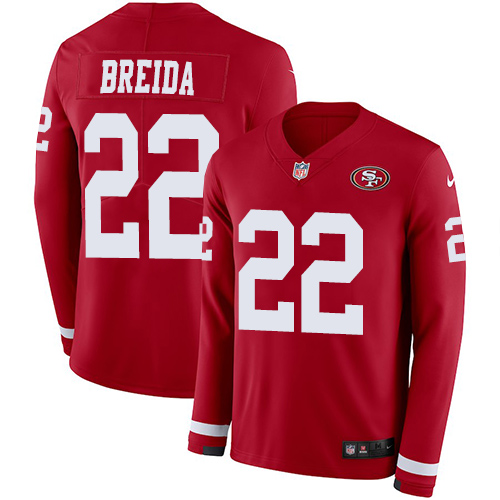 Nike 49ers #22 Matt Breida Red Team Color Men's Stitched NFL Limited Therma Long Sleeve Jersey