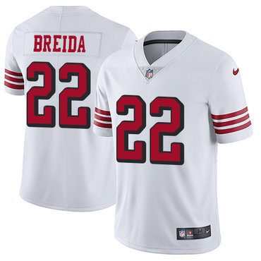 Nike 49ers #22 Matt Breida White Rush Men's Stitched NFL Vapor Untouchable Limited Jersey