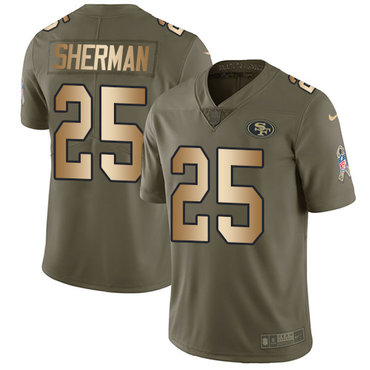 Nike 49ers #25 Richard Sherman Olive Gold Youth Stitched NFL Limited 2017 Salute to Service Jersey