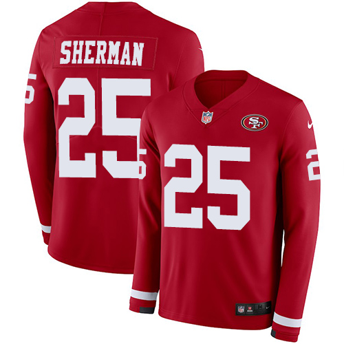Nike 49ers #25 Richard Sherman Red Team Color Men's Stitched NFL Limited Therma Long Sleeve Jersey