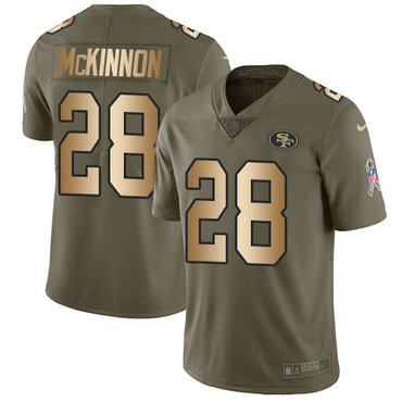 Nike 49ers #28 Jerick McKinnon Olive Gold Youth Stitched NFL Limited 2017 Salute to Service Jersey