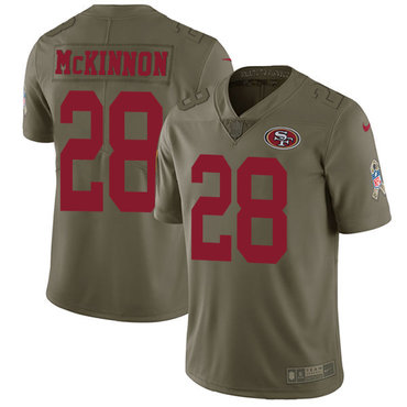 Nike 49ers #28 Jerick McKinnon Olive Youth Stitched NFL Limited 2017 Salute to Service Jersey