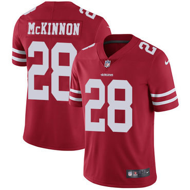 Nike 49ers #28 Jerick McKinnon Red Team Color Youth Stitched NFL Vapor Untouchable Limited Jersey