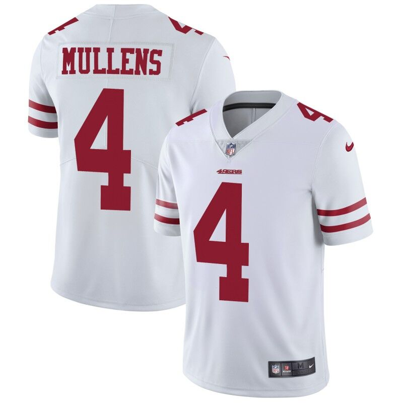 Nike 49ers #4 Nick Mullens White Men's Stitched NFL Vapor Untouchable Limited Jersey