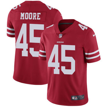 Nike 49ers #45 Tarvarius Moore Red Team Color Men's Stitched NFL Vapor Untouchable Limited Jersey