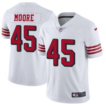 Nike 49ers #45 Tarvarius Moore White Rush Men's Stitched NFL Vapor Untouchable Limited Jersey