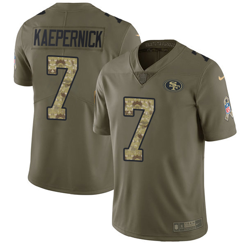 Nike 49ers #7 Colin Kaepernick Olive Camo Men's Stitched NFL Limited 2017 Salute To Service Jersey
