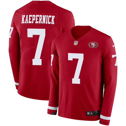 Nike 49ers #7 Colin Kaepernick Red Team Color Men's Stitched NFL Limited Therma Long Sleeve Jersey