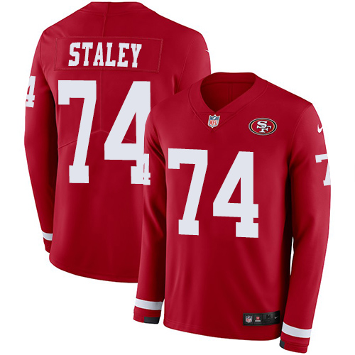 Nike 49ers #74 Joe Staley Red Team Color Men's Stitched NFL Limited Therma Long Sleeve Jersey