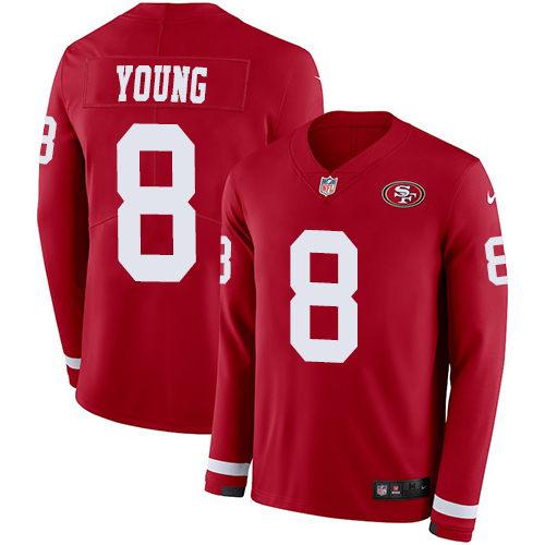 Nike 49ers #8 Steve Young Red Team Color Men's Stitched NFL Limited Therma Long Sleeve Jersey