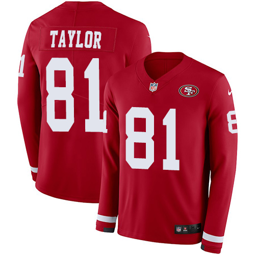 Nike 49ers #81 Trent Taylor Red Team Color Men's Stitched NFL Limited Therma Long Sleeve Jersey