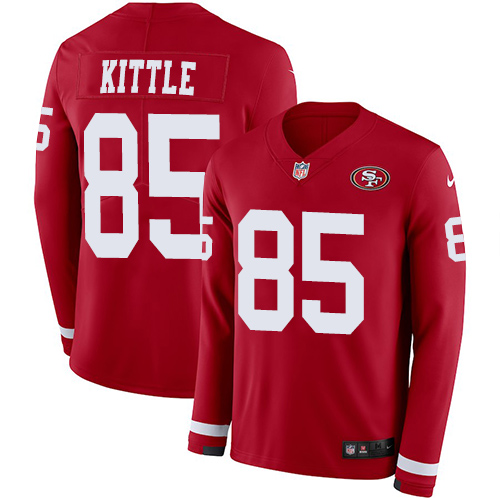 Nike 49ers #85 George Kittle Red Team Color Men's Stitched NFL Limited Therma Long Sleeve Jersey