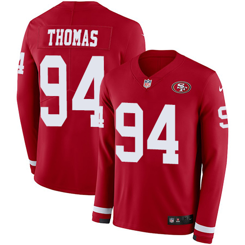 Nike 49ers #94 Solomon Thomas Red Team Color Men's Stitched NFL Limited Therma Long Sleeve Jersey