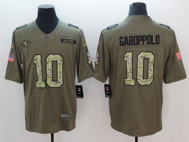 Nike 49ers 10 Jimmy Garoppolo Olive Camo Salute To Service Limited Jersey