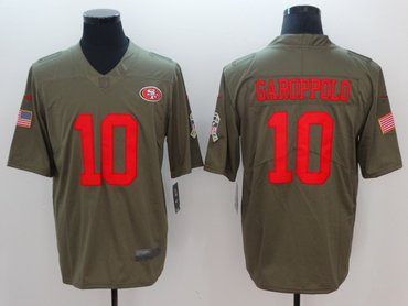Nike 49ers 10 Jimmy Garoppolo Olive Salute To Service Limited Jersey