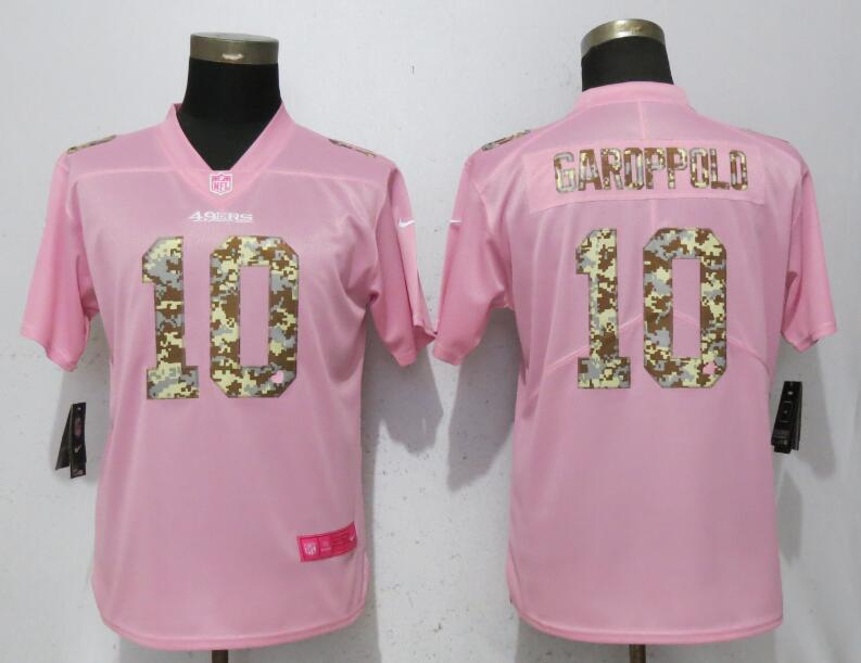 Nike 49ers 10 Jimmy Garoppolo Pink Camo Fashion Women Limited Jersey
