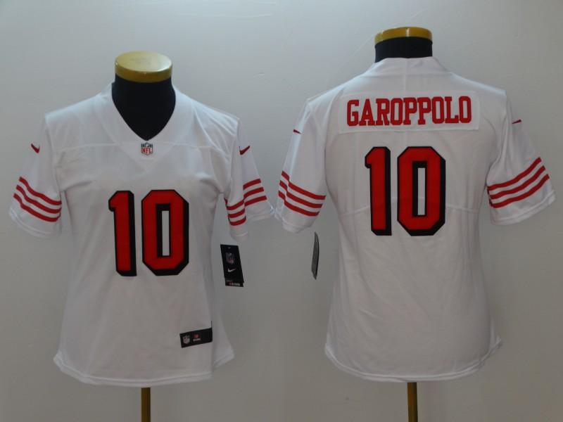 Nike 49ers 10 Jimmy Garoppolo White Women Color Rush Vapor Untouchable Limited Jersey