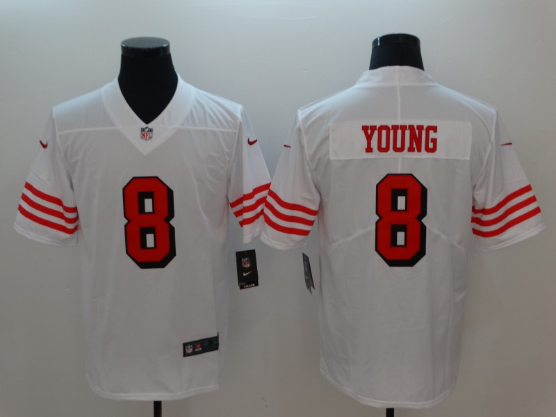 Nike 49ers 8 Steve Young White Color Rush Vapor Untouchable Limited Jersey