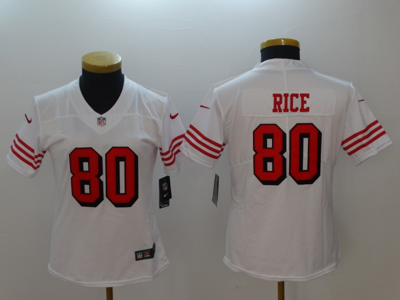 Nike 49ers 80 Jerry Rice White Women Color Rush Vapor Untouchable Limited Jersey