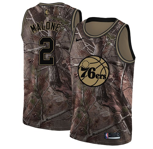 Nike 76ers #2 Moses Malone Camo Women's NBA Swingman Realtree Collection Jersey