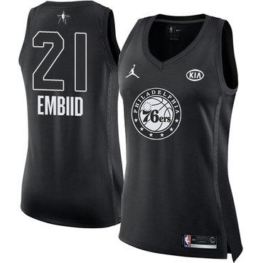 Nike 76ers #21 Joel Embiid Black Women's NBA Jordan Swingman 2018 All-Star Game Jersey