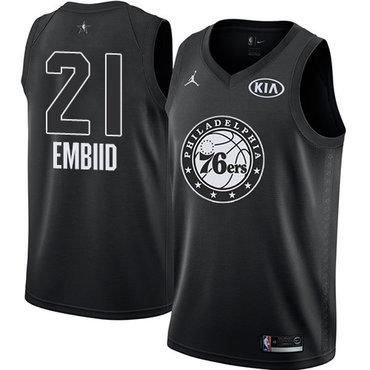 Nike 76ers #21 Joel Embiid Black Youth NBA Jordan Swingman 2018 All-Star Game Jersey