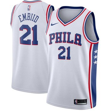 Nike 76ers #21 Joel Embiid White NBA Swingman Association Edition Jersey
