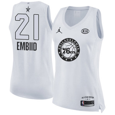 Nike 76ers #21 Joel Embiid White Women's NBA Jordan Swingman 2018 All-Star Game Jersey