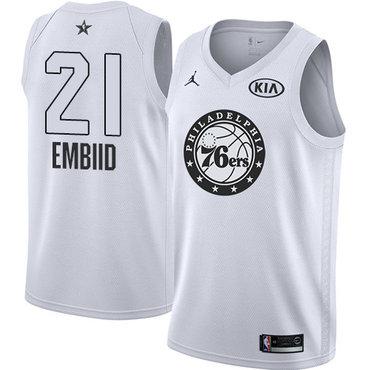 Nike 76ers #21 Joel Embiid White Youth NBA Jordan Swingman 2018 All-Star Game Jersey