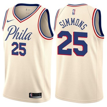Nike 76ers #25 Ben Simmons Cream NBA Swingman City Edition Jersey