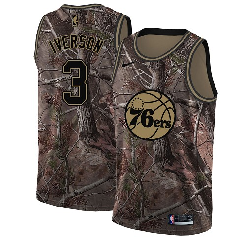 Nike 76ers #3 Allen Iverson Camo Youth NBA Swingman Realtree Collection Jersey