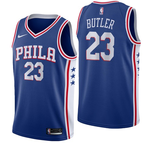 Nike 76ers 23 Jimmy Butler Blue Nike Swingman Jersey
