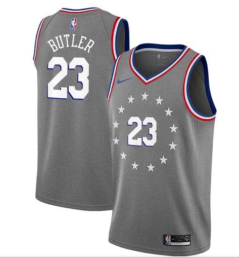 Nike 76ers 23 Jimmy Butler Gray 2018-19 City Edition Nike Swingman Jersey