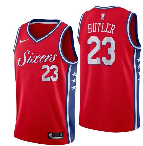 Nike 76ers 23 Jimmy Butler Red Nike Swingman Jersey
