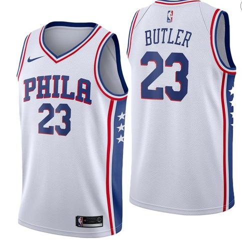 Nike 76ers 23 Jimmy Butler White Nike Swingman Jersey