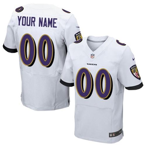 Nike Baltimore Ravens Elite White Road Men's Jersey NFL Customized jerseys