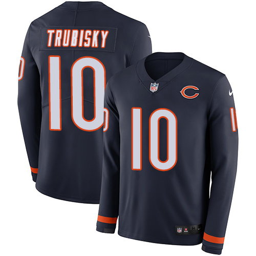 Nike Bears #10 Mitchell Trubisky Navy Blue Team Color Men's Stitched NFL Limited Therma Long Sleeve Jersey