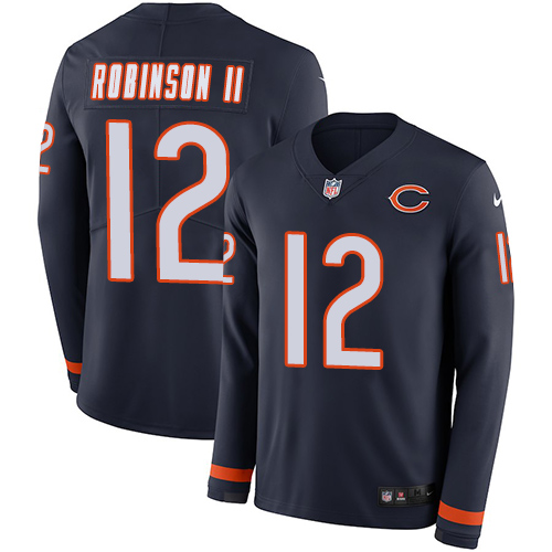 Nike Bears #12 Allen Robinson II Navy Blue Team Color Men's Stitched NFL Limited Therma Long Sleeve Jersey