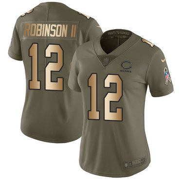Nike Bears #12 Allen Robinson II Olive Gold Women's Stitched NFL Limited 2017 Salute to Service Jersey