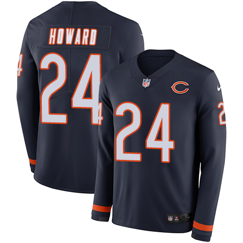 Nike Bears #24 Jordan Howard Navy Blue Team Color Men's Stitched NFL Limited Therma Long Sleeve Jersey