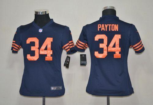Nike Bears #34 Walter Payton Navy Blue Alternate Youth Stitched NFL Elite Jersey